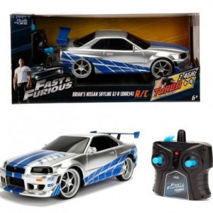 Fast And Furious - Rc Fjernstyret Bil - Brians Nissan Skyline Gtr Turbo - Blå Sølv